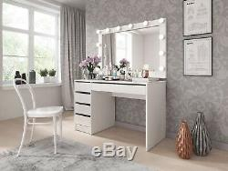 Office Computer Desk Home Dressing Table White High Gloss Study Make Up Bedroom