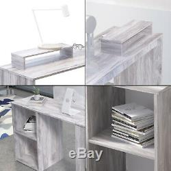 Office Desks Laptop Study Table Computer Desk L-Shaped Shelf Storage Home Grey