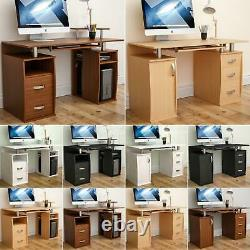 Otley Computer Desk 2 3 Drawer Laptop PC Table Keyboard Home Office Workstation