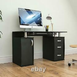 Otley Computer Desk 3 Drawer Laptop PC Study Table Workstation Home Office Black