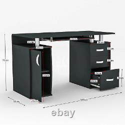 Otley Computer Desk 3 Drawer Laptop PC Table Home Office Study Workstation Black