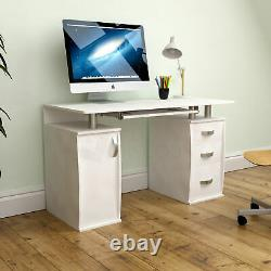 Otley Computer Desk 3 Drawer Laptop PC Table Home Office Study Workstation White