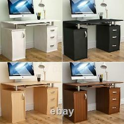 Otley Computer Desk 3 Drawer Laptop PC Table Keyboard Home Office Workstation