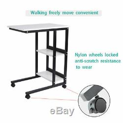 Over Bed Table Rolling Mobile Laptop Table with Storage Shelves Sofa Study Table