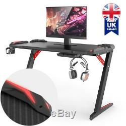 PC Gaming Desk Computer Table with RGB LED Lights Cup Holder Headphone Hanger
