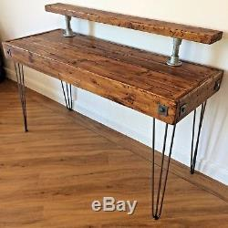 PC Table-Computer Desk-Rustic Reclaimed Waxed Wood Industrial-Table Desk-Writing