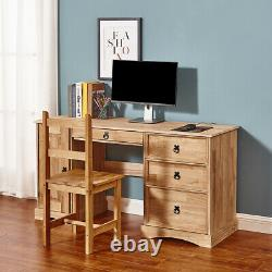 Panana Computer Desk Home Office Workstation Table Mexican Pine with 3 Drawers