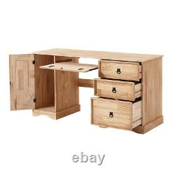 Panana Corner Computer Desk Home Office Workstation Table Mexican Solid Pine UK
