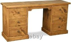 REAL SOLID WOOD COMPUTER DESK DRESSING TABLE DRAWERS rustic plank pine furniture