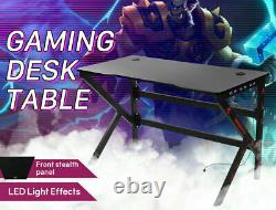 RGB LED Gaming Computer Desk Carbon Effect Racing Table Home Study Workstation