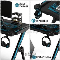 RGB LED Gaming Desk Home Office Computer Table with Cup Holder Headphone Hook UK