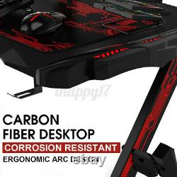 RGB Lighting Gaming Computer Desk Home Office Table with Cup Holder Headphone Hook