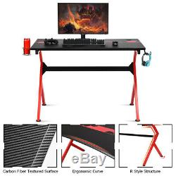 R-Shaped Carbon Gaming Desk Computer Table Workstation Study Office Home