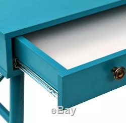 Retro Computer Desk Vintage Industrial Office Metal Leg Wooden Writing PC Table