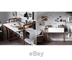 Retro Computer Desk Vintage Wooden Furniture White Writing Table Compact Office