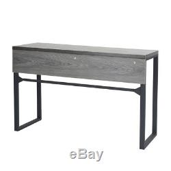 Retro Console Entry Hallway Table With Drawer Computer Desk MDF Top Metal Leg