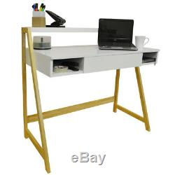 Retro Office Desk / Computer Workstation / Dressing Table Pine / White OF0217L