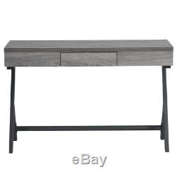 Retro Rustic Wooden Console Entry Table Computer Writing WorkStation with Drawer
