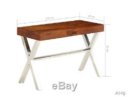 Retro Style Writing Computer Desk Solid Vintage Sheesham Console Table Iron Legs