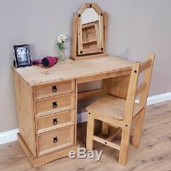 Rustic Small Computer Desk 4 Drawers Solid Wood Office Writing PC Table Antique