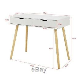 Scandi Computer Desk Wood Workstation Writing Console Table Home Office Unit NEW
