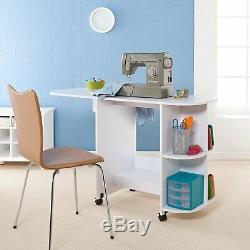 Sewing Table With Wheels Craft Storage Cabinet Folding Computer Desk Rolling New
