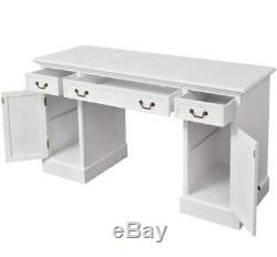 Shabby Chic Computer Desk Large Pedestal Furniture Writing Drawer Table White PC