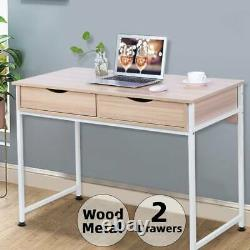 Small Computer Desk with 2 Drawers Study PC Laptop Table Home Office Workstation