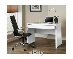 Small High Gloss Computer Desk Large Drawer Office White PC Table Workstation