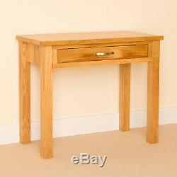 Small Oak Laptop Desk with Drawer Console Table for Hallway Newlyn Solid Wood