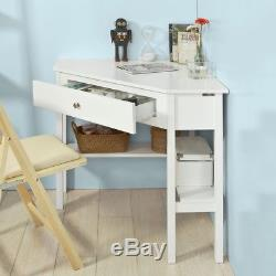 SoBuy Triangle Corner Home Office Table, Computer Desk with Drawer, FWT31-W, UK