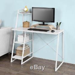 SoBuy White Wood Home Office Computer Table Desk with Storage Shelf, FWT29-W, UK