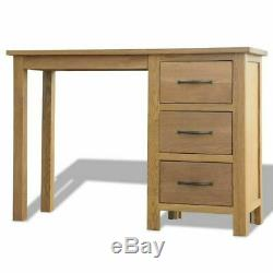 Solid Oak Wood Study Desk Office Table Computer Stand 3 Drawer Bedroom Furniture