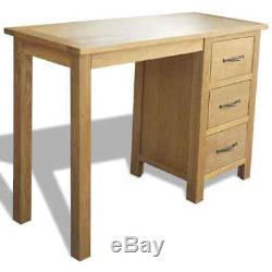 Solid Oak Wood Writing Desk Home Office Computer Table with Three Storage Drawers