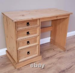 Solid Wood Computer Desk 4 Drawers Pine Student Writing Table Rustic Workstation