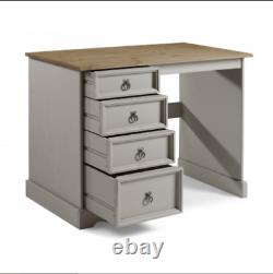 Solid Wood Computer Desk Grey Student Workstation Writing Table Rustic Drawers