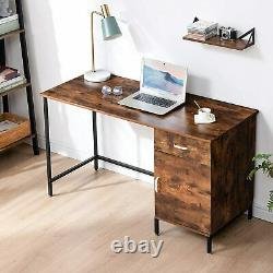 Standard Industrial Computer Desk With Drawer Cabinet Rustic Brown Wooden Table
