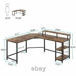 Tribesigns Computer Office Desk L-Shaped Wood Corner Desk with Shelves and Hutch