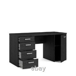 Tvilum PC Computer Desk Workstation Table With 4 Drawers & Cupboard Black