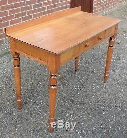 Victorian antique Arts & Crafts solid ash 1 drawer writing table computer desk