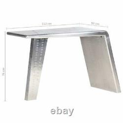 VidaXL Aviator Desk Silver Metal Jet Wing Inspired Computer Writing Table
