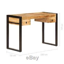 VidaXL Solid Mango Wood Desk with 2 Drawers Office Computer Table Workstation