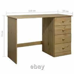 VidaXL Solid Pine Wood Desk with 4 Drawers Wooden Writing Computer Study Table