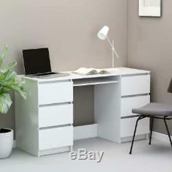 VidaXL Writing Desk White 140cm Chipboard Computer Table Laptop Workstation