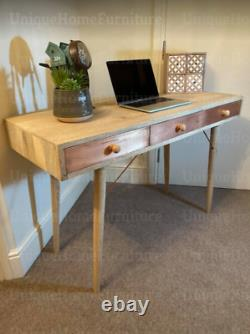 Vintage Dressing Table Scandinavian Computer Desk Rustic Wooden Writing Console