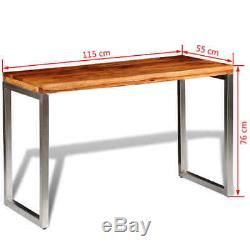 Vintage Solid Wooden Dining Table Industrial Computer Office Desk with Steel Leg