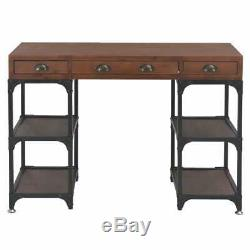 Vintage Writing Desk 3 Drawer Office Computer Table Retro Industrial Furniture