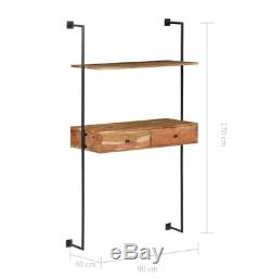 Wall Computer Desk Vintage Industrial Workstation Rustic Writing Floating Table