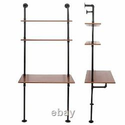 Wall Mounted Computer PC Laptop Desk Study Table Storage Shelves Space Saving