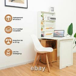 Wall Mounted Desk Space-Saving Computer Laptop Table with Shelf Folding White